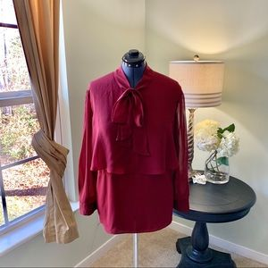 Cato Burgundy Tie Front Blouse Size 22/24